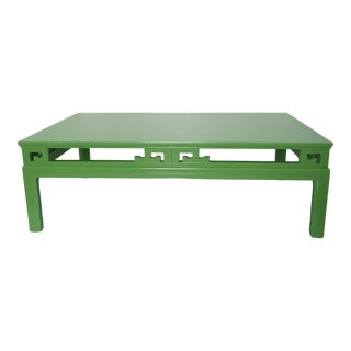1970s Chinoiserie Large New Green Lacquer Coffee Table For Sale