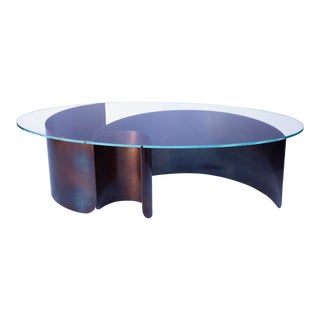 Contemporary Wave Oval Coffee Table 2 in Heat Tempered Steel and Starfire Glass For Sale