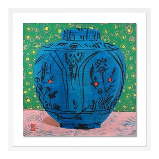 Persian Vase by Jelly Chen in White Framed Paper, Large Art Print For Sale