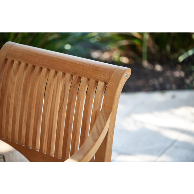 Wood Palm Teak Outdoor Armchair For Sale - Image 7 of 10