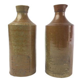 19th Century Rustic English Stone Bottles - a Pair For Sale