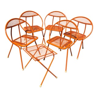 Vintage Mid Century Maurizio Tempestini for Salterini Hoop Radar Patio Chair and Table Set-6 Pieces For Sale