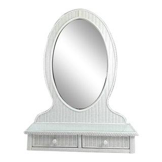 Vintage Henry Link White Wicker Mirror Valet For Sale