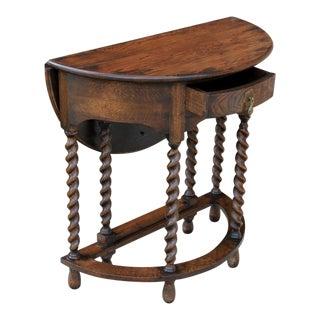 Antique English Oak Edwardian Era Demi Lune Barley Twist Gate Leg Drop Leaf Table Nightstand For Sale