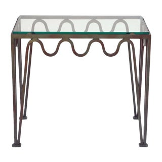 "Contemporary ""Méandre"" Verdigris Iron and Glass Side Table For Sale"