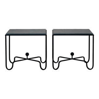 Design Frères Grey Slate 'Entretoise' Side Tables - a Pair For Sale
