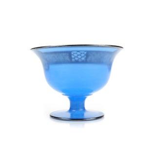 Art Nouveau 1890s Silver Overlay Blue Glass Bowl