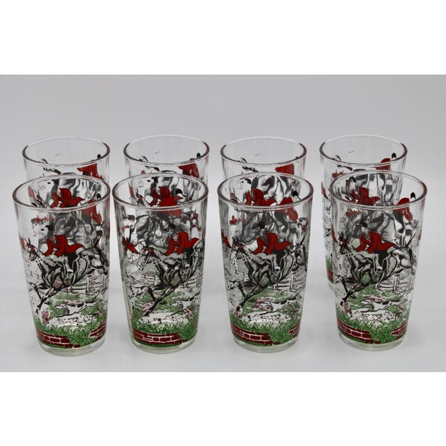 1950s English Fox Hunt High Ball Drinking Glasses - Set of Eight For Sale - Image 12 of 13
