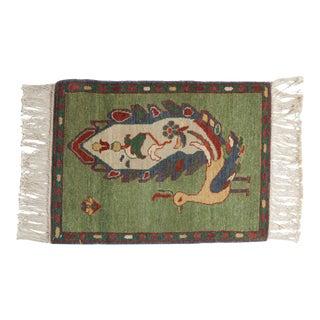 Vintage Pictorial Armenian Peacock Design Square Rug Mat For Sale
