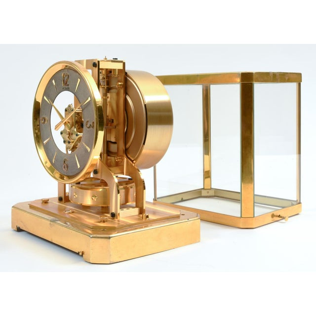 Case Glass Brass Jaeger Le Coultre Mantel Desk Clock For Sale In New York - Image 6 of 13