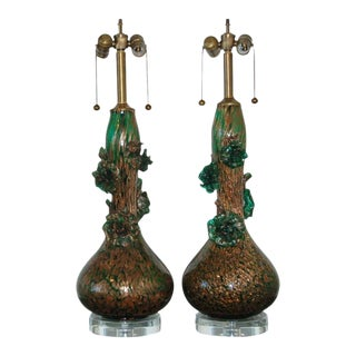 Marbro Murano Glass Flower Lamps Green For Sale