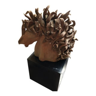 Dramatic Sculpture of Horse in Terra Cotta For Sale