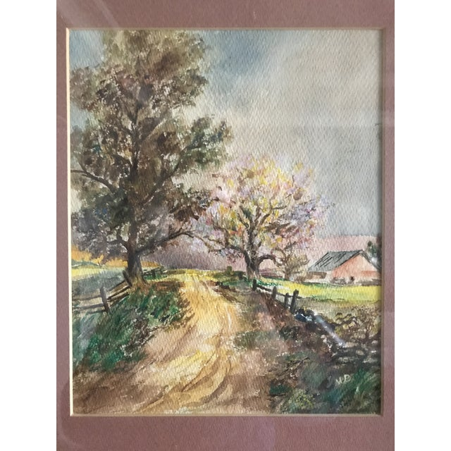 Watercolor Vintage Mid-Century Rural House and Trees Original Watercolor Painting For Sale - Image 7 of 7
