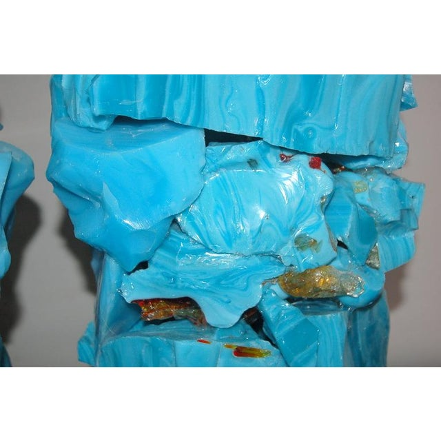 Glass Glass Rock Table Lamps by Swank Lighting Blue For Sale - Image 7 of 10