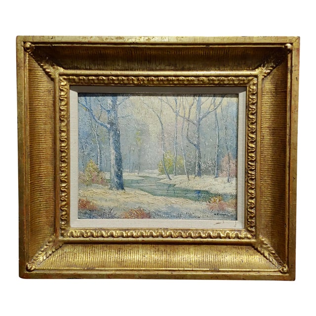 William Krullaars -Winter Solitude by the Creek Landscape - Oil Painting-C1900s For Sale