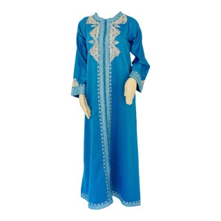 Moroccan Kaftan in Turquoise Blue and Silver For Sale