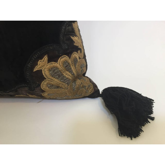 Moroccan Black Silk Decorative Pillow With Gold Metallic Threads and Tassels For Sale In Los Angeles - Image 6 of 10