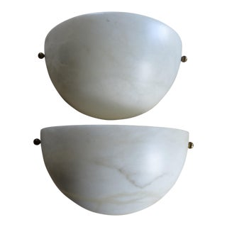 1980s Art Deco Lightolier Alabaster Sconces - a Pair