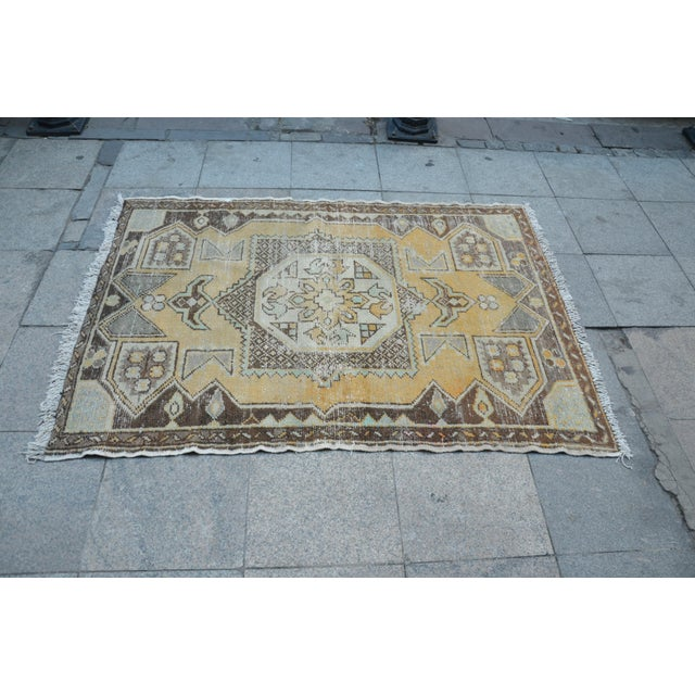 Antique Tribal Faded Rug - 3′11″ × 5′7″ For Sale - Image 4 of 6