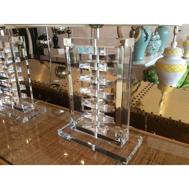 Mid 20th Century Hollywood Regency Lucite Stacked Table Lamps - a Pair For Sale - Image 5 of 11