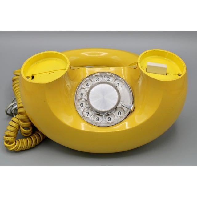 Plastic 1970s Art Deco Lemon Yellow Rotary Telephone For Sale - Image 7 of 13