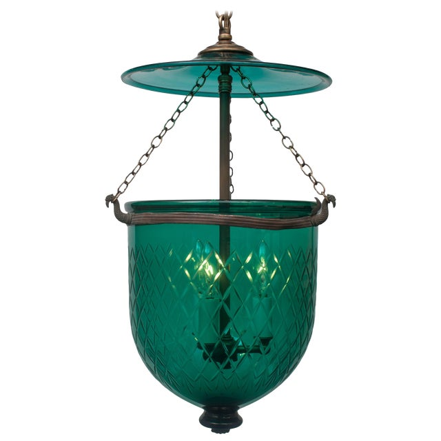 Green Diamond-Cut Bell Jar Lantern For Sale