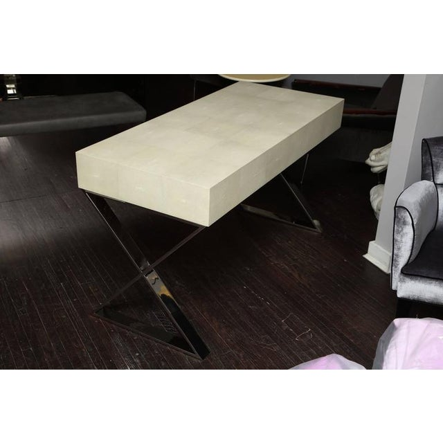 Genuine Shagreen Desk with Polished Chrome X-Band Base For Sale - Image 9 of 10