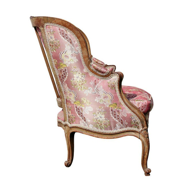 Louis XV Style Walnut and Painted Bergere Chair - Image 7 of 10