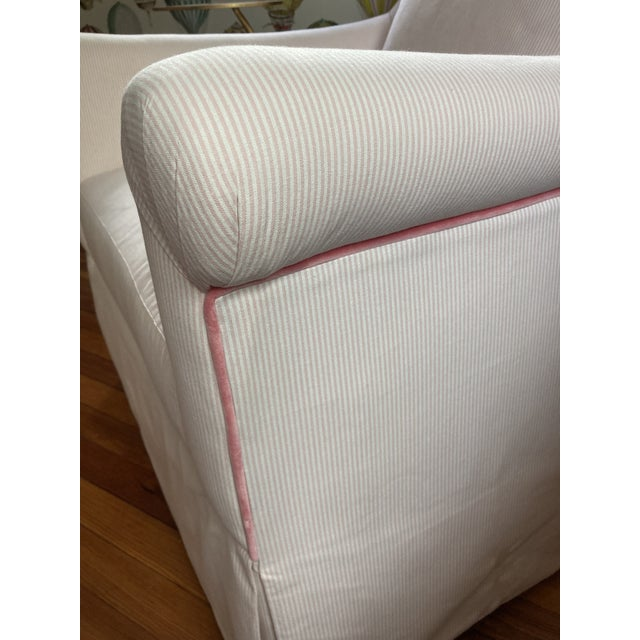 Custom Furniture Builders Custom Pink & White Stripe Chair & Ottoman For Sale - Image 4 of 7