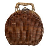 Image of Boho Chic Style Wicker Lined Lunch Basket For Sale