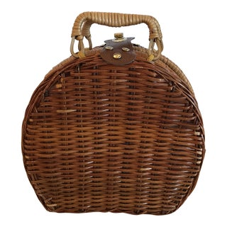 Boho Chic Style Wicker Lined Lunch Basket For Sale
