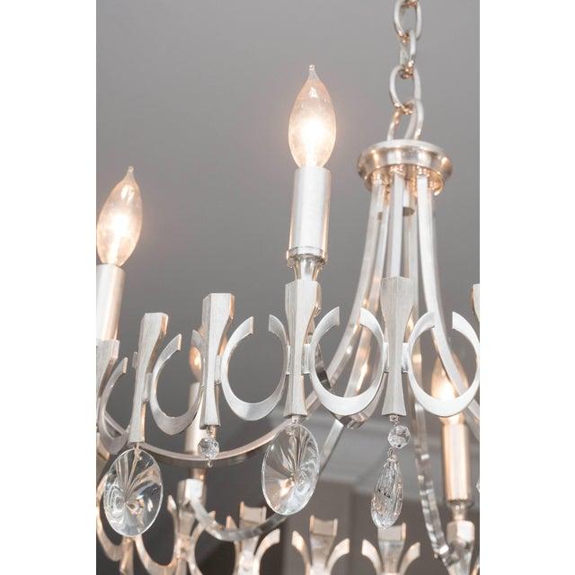 Gaetano Sciolari Silverplate Six-Light Chandelier Attributed to Sciolari For Sale - Image 4 of 9