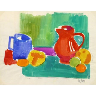 Madeleine Scali, Vintage French Gouache Still-Life Painting For Sale