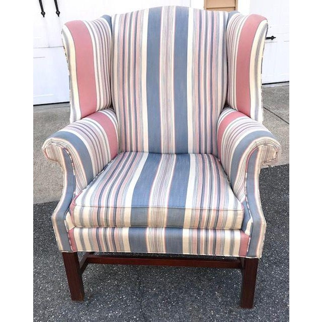 Late 20th Century Chippendale Style Wing Chair For Sale In Boston - Image 6 of 6