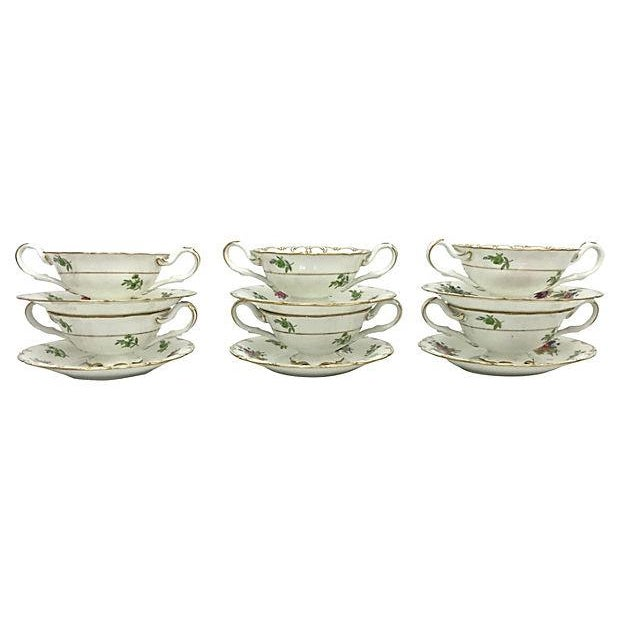English Soup Cups & Saucers - Set of 6 - Image 2 of 10