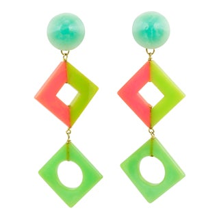 Pop Art Bakelite Dangling Clip on Earrings Tutti Frutti Pastel Colors For Sale
