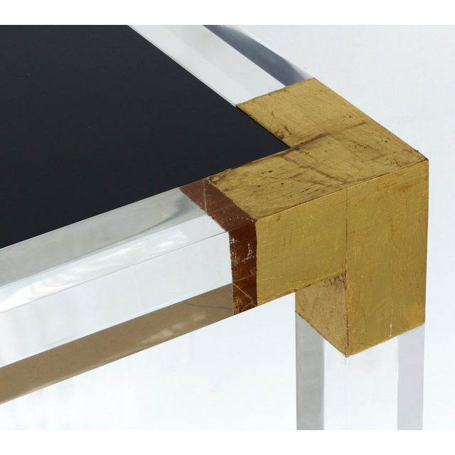 Black Custom Lucite Side Table With Interchangeable Tops and Gold Leaf Accents For Sale - Image 8 of 10