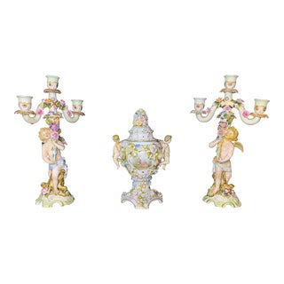 Herman Porcelain Console Set With Cherub Candelabra and Vase - 3 Pieces For Sale