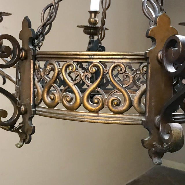 Antique French Louis XIV Bronze Chandelier For Sale - Image 9 of 12