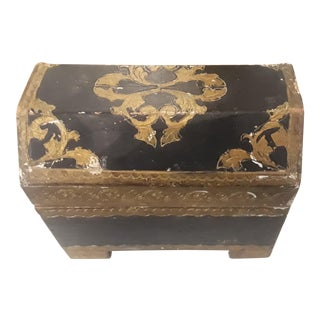 Early 20th Century Florentine Footed Coffin Box With Feet For Sale