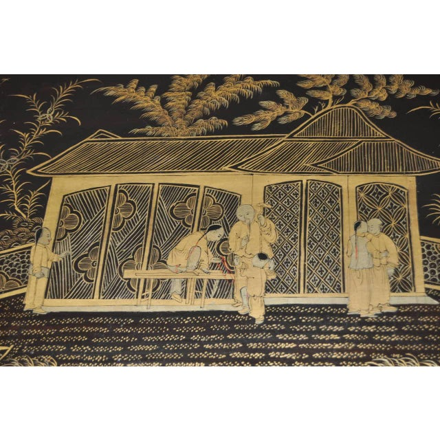 19th Century 19th Century Chinoiserie Black Lacquered & Gold Nesting Tables - Set of 4 For Sale - Image 5 of 10