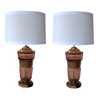 A Pair of Bohemian Art Deco Aubergine Glass Decagonal Lamps For Sale