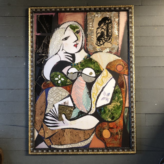 Original Contemporary Large Abstract Modernist Collage Picasso Style Female Reading Framed For Sale - Image 11 of 11