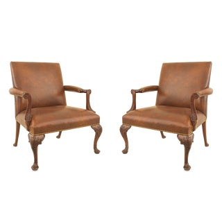 Queen Anne Brown Leather Arm Chairs For Sale