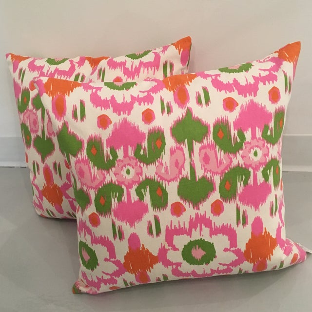 Rio Gumdrop Ikat Pillows with Down Insert Fabric on both sides, pattern varies. Includes a hidden zipper for easy cover...