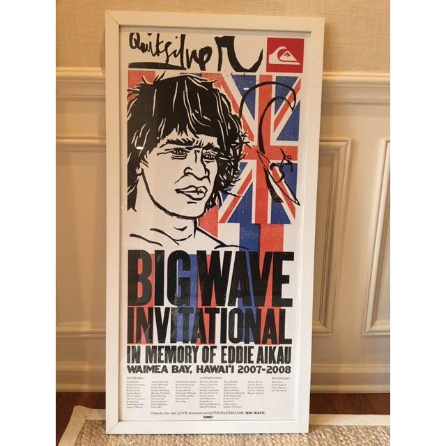 Red Vintage Hawaiian Big Wave Artwork, Framed For Sale - Image 8 of 8