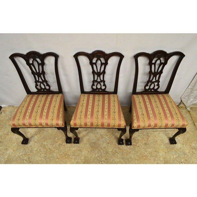 Chippendale Solid Mahogany Chippendale Style Dining Chairs Ball & Claw Feet - Set of 6 For Sale - Image 3 of 11