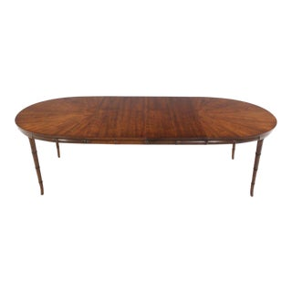 Faux Bamboo Horn Shape Leg Mid-Century Modern Oval Table with Two Leaves