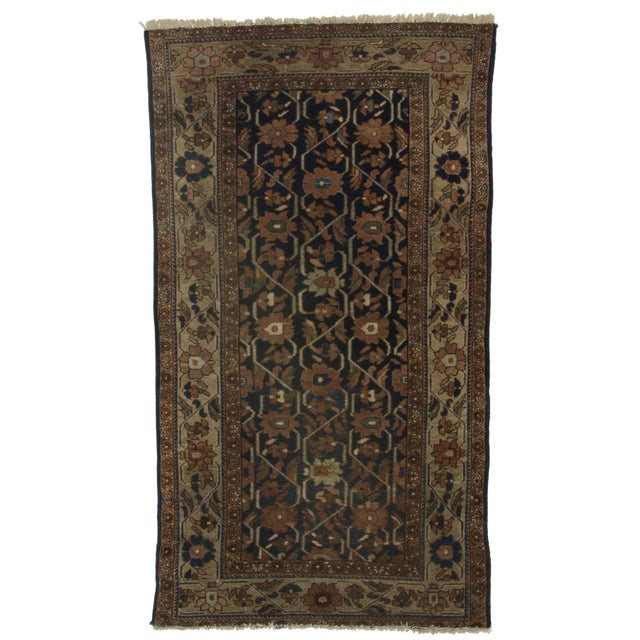 RugsinDallas Hand Knotted Wool Persian Hamadan Rug - 4′ × 6′11″ For Sale