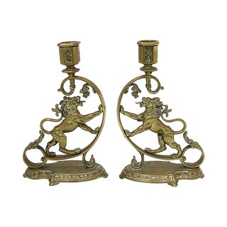 Antique English Brass Lion Candlesticks - C. 1840s